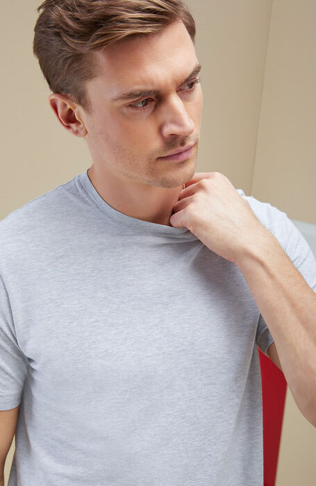 Grey short-sleeved IceCotton fil-a-fil T-shirt , Zanone | Slowear