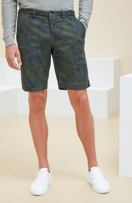 Cotton and linen Bermuda shorts with overdyed print , Incotex - Slacks | Slowear