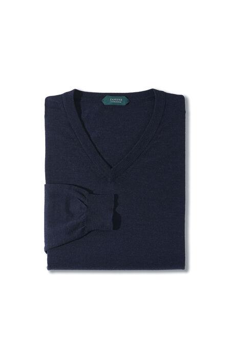Blue Flexwool V-neck sweater. , Zanone | Slowear