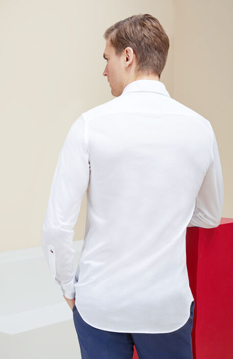 Slim fit shirt with French collar in Fil d'Ecosse cotton-lisle , Glanshirt   Slowear