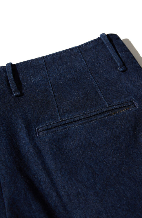 Tapered fit denim pattern trousers , Indigochino | Slowear
