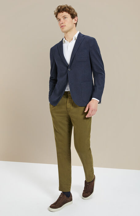Green tapered-fit stretch cotton trousers , Incotex - Slacks | Slowear