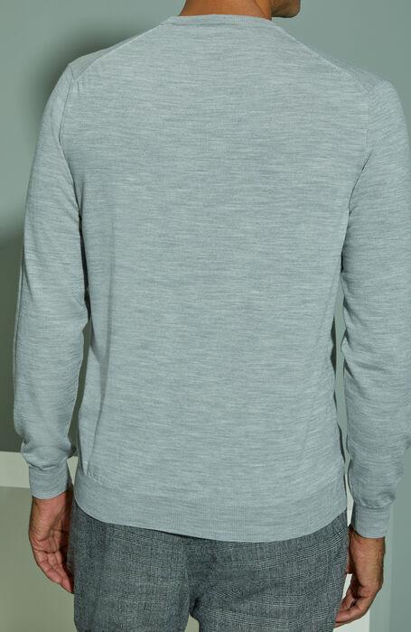Light grey melange Flexwool crewneck sweater , Zanone | Slowear
