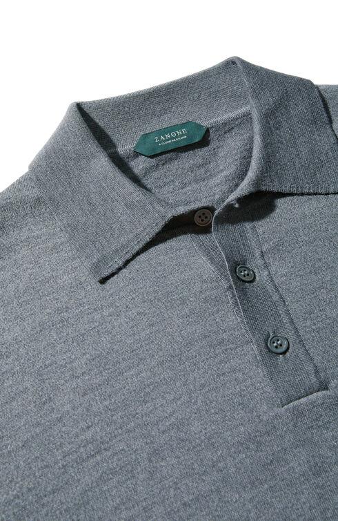 Long-sleeved Flexwool polo shirt , ZANONE Flexwool | Slowear