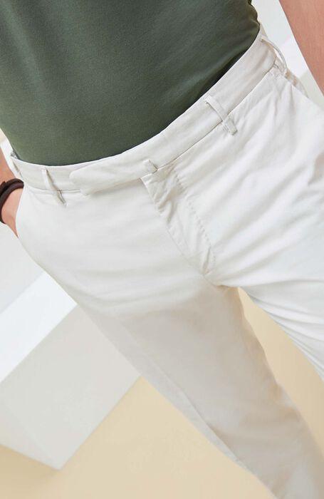 Beige crepe cotton slim fit trousers , Incotex - Venezia 1951 | Slowear