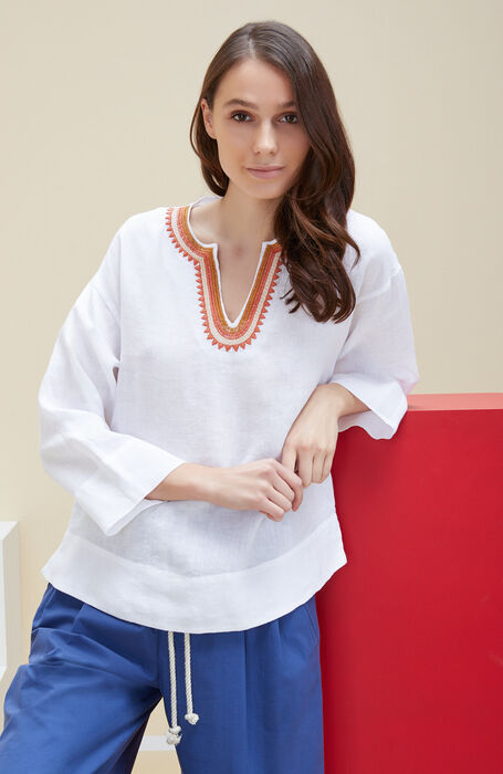 Blouse with three-quarter sleeves and ethnic embroidery in white linen , Glanshirt | Slowear