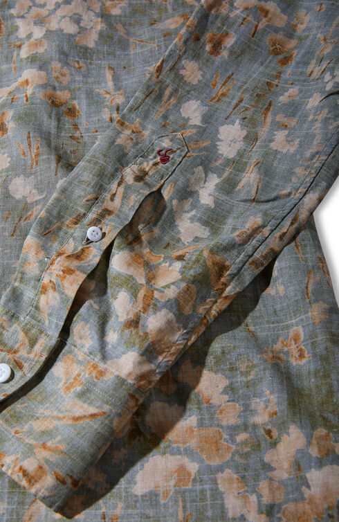Slim-fit linen and cotton shirt with mandarin collar and floral print , Glanshirt | Slowear