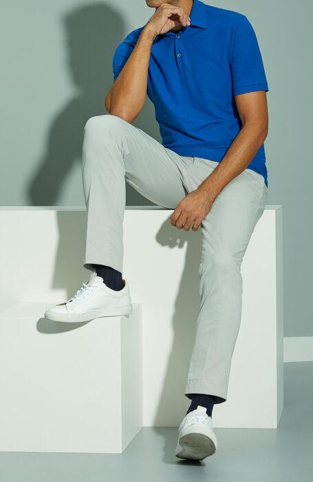 Blue short-sleeved Ice Cotton polo shirt , ZANONE Icecotton   Slowear