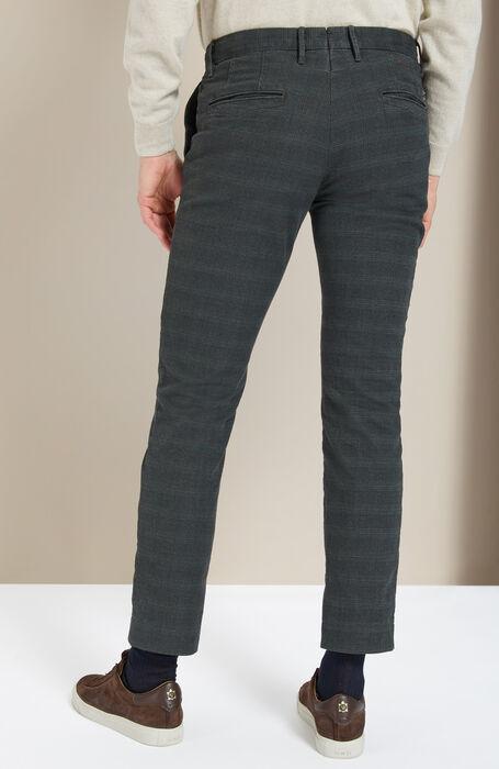 Slim-fit green stretch Prince of Wales cotton trousers , Incotex - Slacks | Slowear