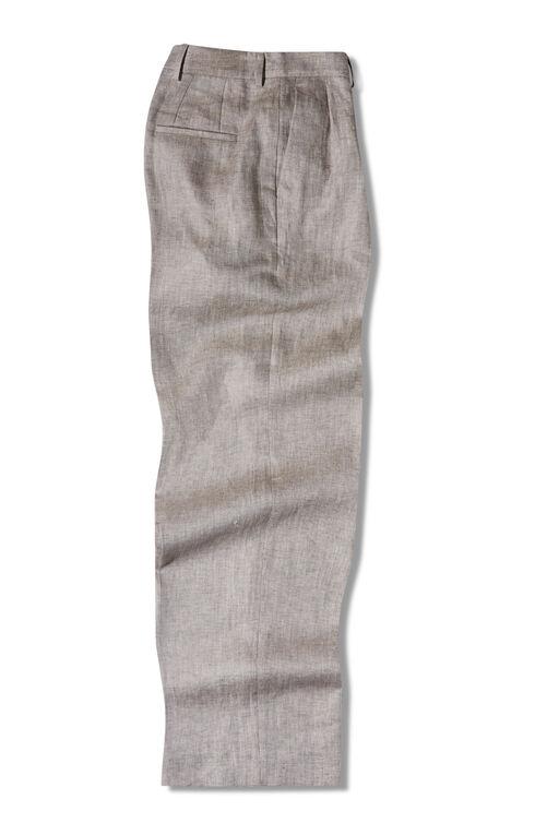 High-waisted wide fit trousers in pure linen chevron , Slowear Incotex   Slowear