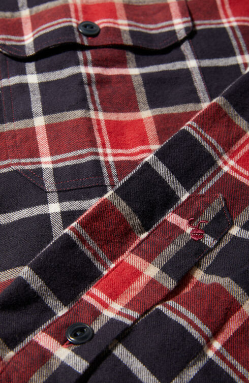 Slim fit check flannel shirt with French collar , Glanshirt | Slowear