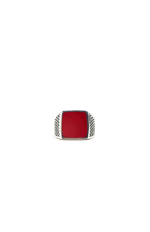 Silver ring with red lacquer , Officina Slowear | Slowear