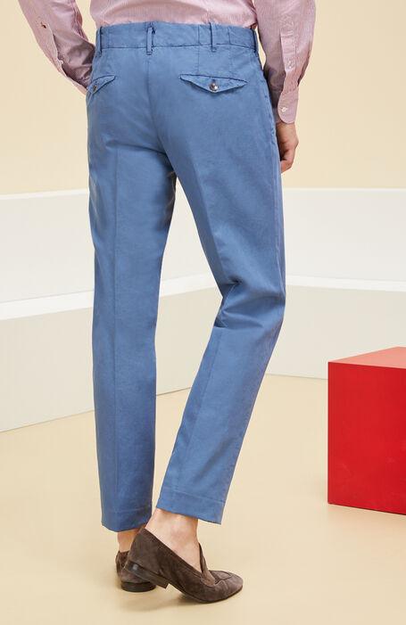 Blue linen and cotton slim fit trousers , Incotex - Verve | Slowear