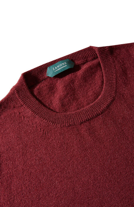 Burgundy wool and cashmere crewneck , Zanone   Slowear