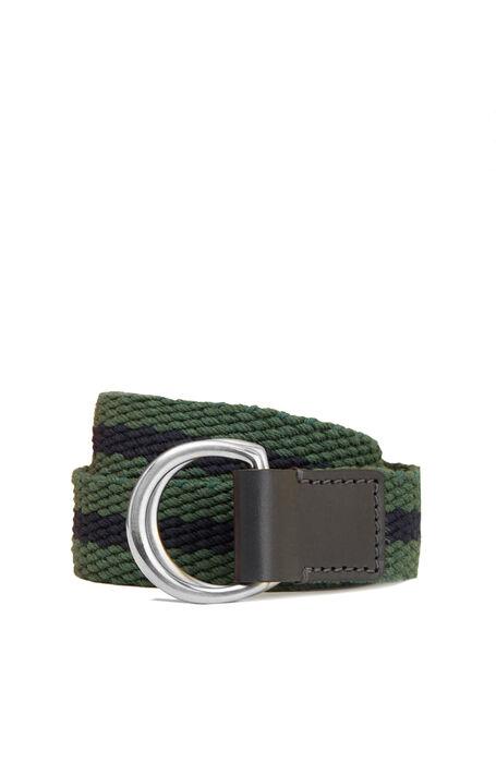 Cintura in cotone con dettagli in pelle di vitello blu e verde , Officina Slowear | Slowear