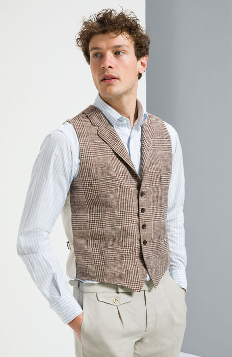 Cotton/Linen Jacquard Gilet with Lining , Montedoro | Slowear
