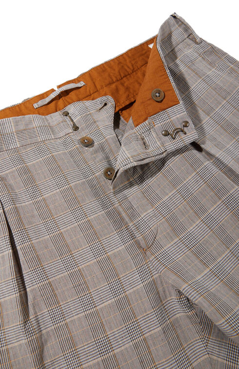 Tapered-fit cotton and linen check pattern trousers , Incotex - Verve | Slowear
