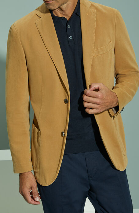 Single-breasted unlined two-button jacket in dark walnut cotton and cashmere drill , Montedoro | Slowear