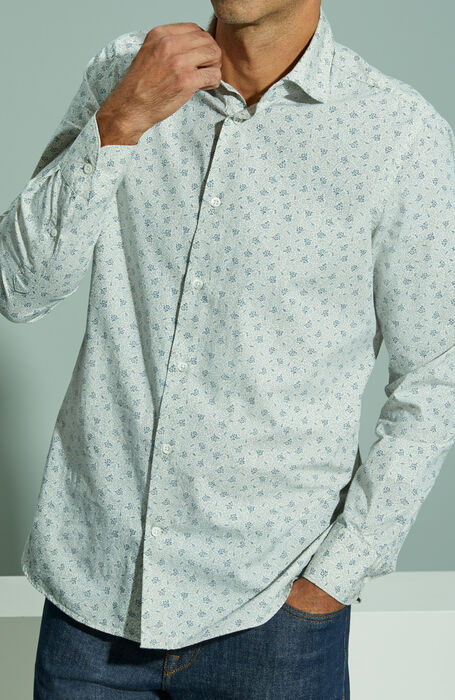 Slim fit shirt with French collar in Japanese cotton with ivory floral print , Glanshirt | Slowear