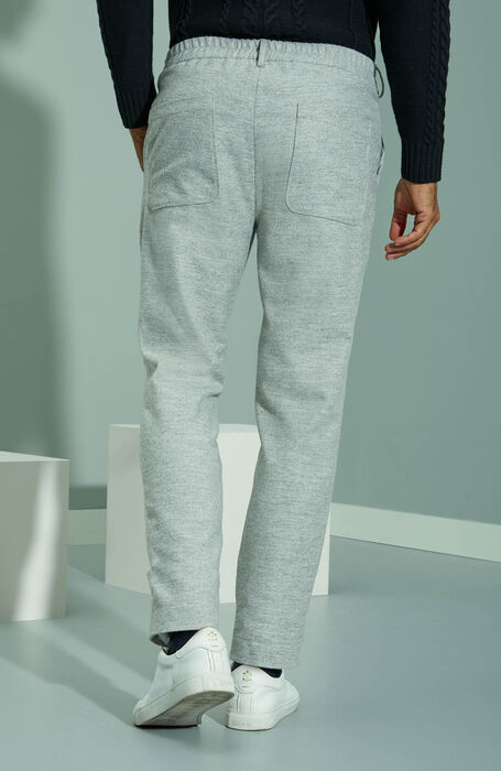 Tapered fit grey flannel trousers with drawstring , Incotex - Venezia 1951 | Slowear