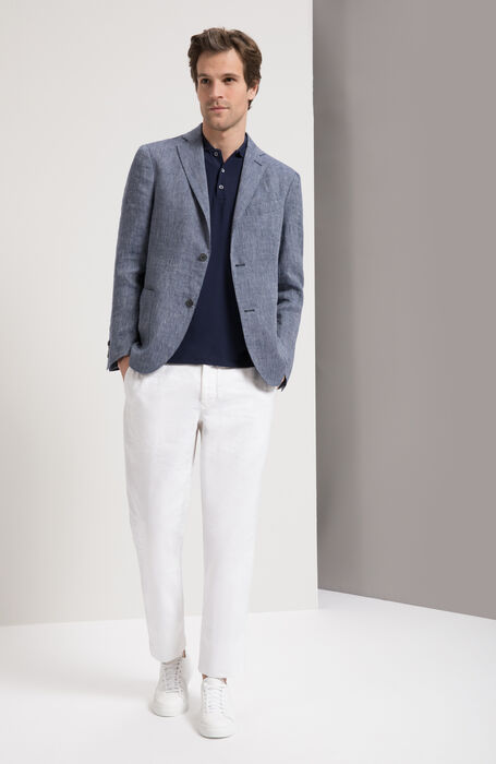 White Regular Fit Cotton/Linen Blend Trousers , Incotex - Slacks | Slowear