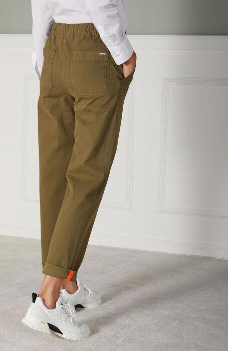 Regular fit leisure trousers in military green stretch gabardine , Incotex | Slowear