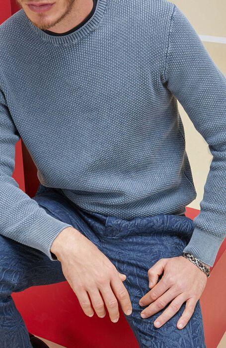 Girocollo in cotone morbido punto maglia all-over grigio , Zanone | Slowear