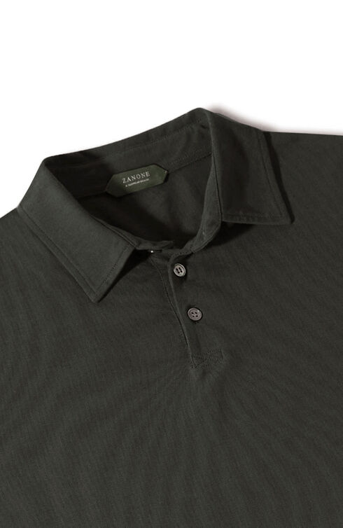 Long-sleeve slim-fit Ice Cotton polo shirt , ZANONE Icecotton | Slowear