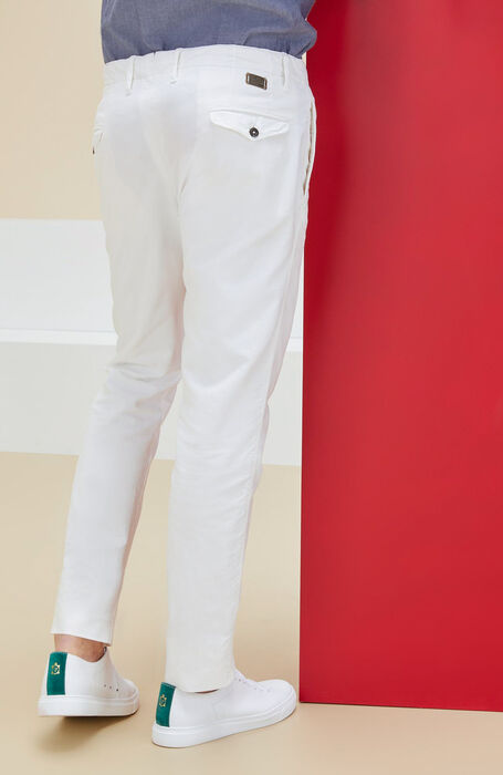Ivory slim fit stretch cotton trousers , Incotex - Slacks | Slowear