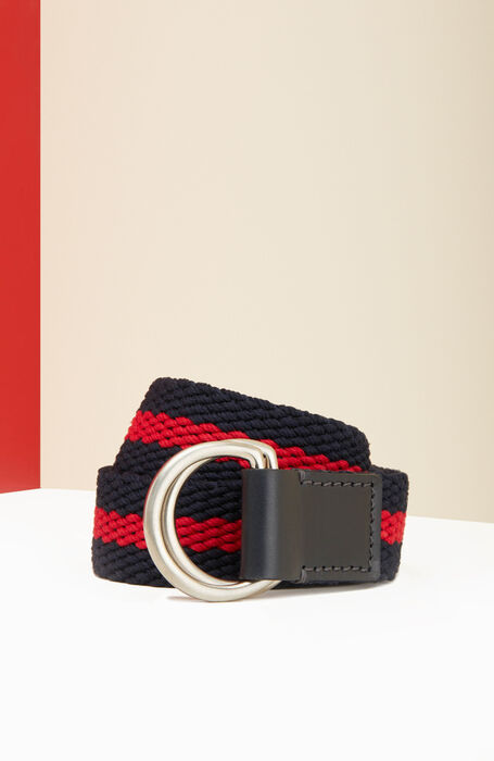 Belt in cotton with blue and red calfskin details , Officina Slowear | Slowear