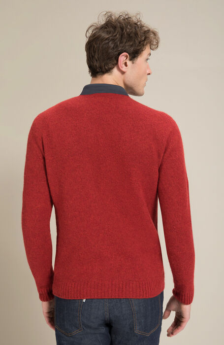 Crewneck sweater in red brushed Lambswoool with natural fibre , Zanone | Slowear