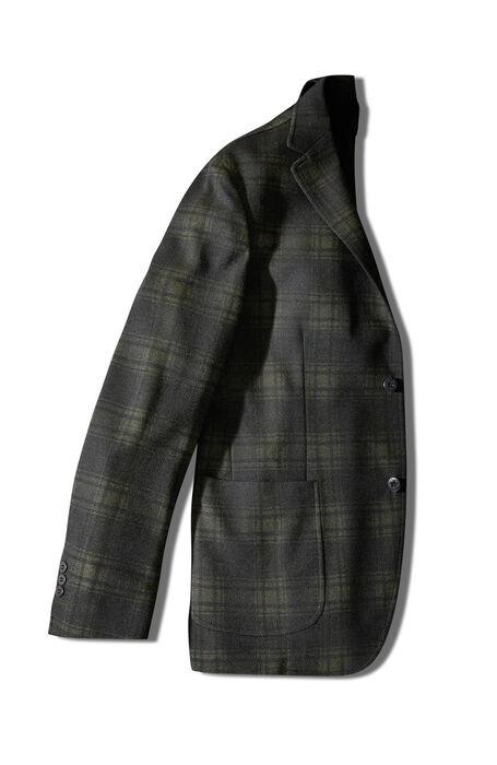 Single-breasted unlined two-button jacket in dark green Prince of Wales jersey , Montedoro | Slowear