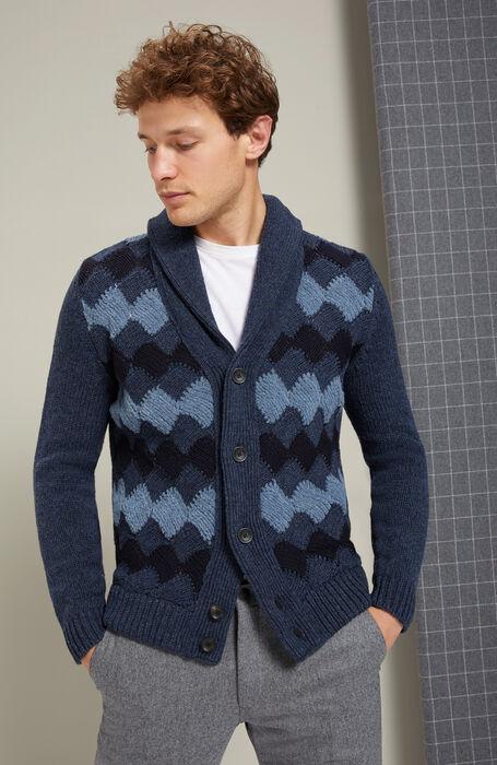 Maxi Cardigan with Lambswool and Blue Bouclé Wool shawl collar , Zanone | Slowear
