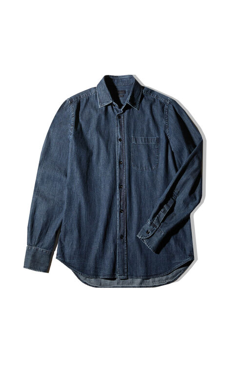 Regular fit denim cotton shirt with classic collar , Indigochino | Slowear
