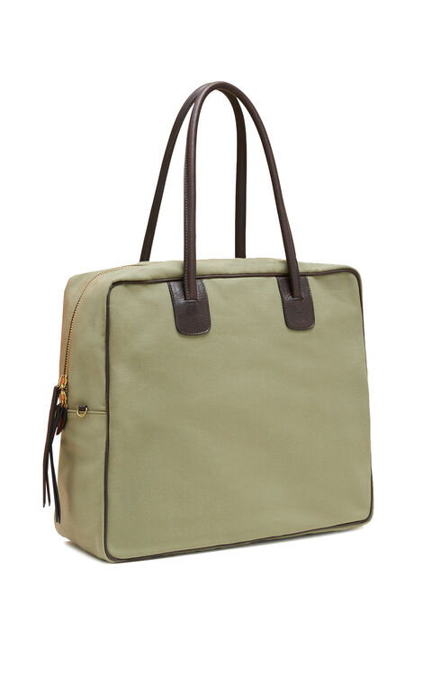 Travel bag in cotton with light green leather details , Officina Slowear   Slowear