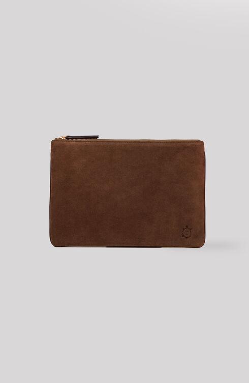 iPad case in suede with dark brown leather details , Officina Slowear | Slowear