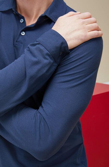 Blue long-sleeved polo shirt in IceCotton , Zanone | Slowear
