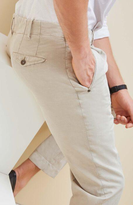Beige slim fit cotton and linen trousers , Incotex - Verve   Slowear