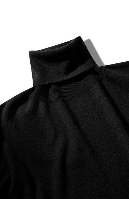 Regular fit turtleneck with wide sleeves in black Flexwool , Zanone | Slowear
