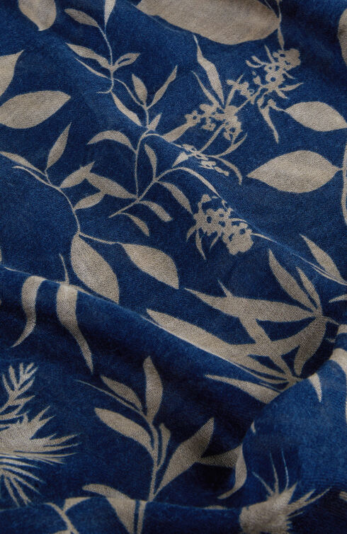 Blue floral pattern wool, cashmere and silk scarf , Zanone | Slowear