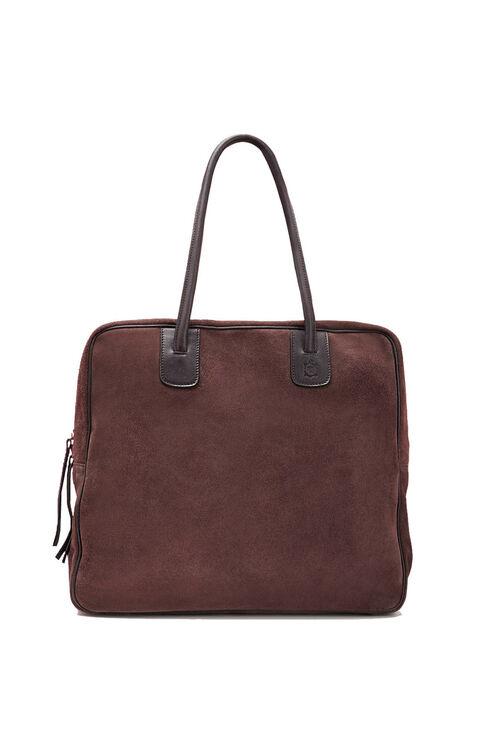 Suede square bag with dark brown leather details , Officina Slowear | Slowear