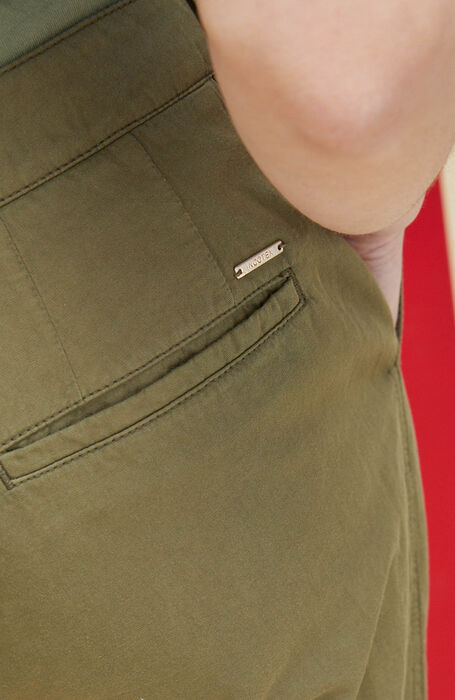 Regular fit trousers in cotton and linen green twill with embroidery , Incotex | Slowear