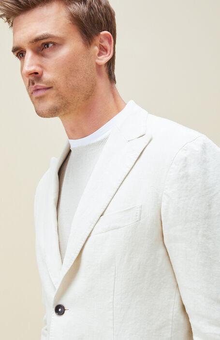シングルブレスト裏地なしジャケット リネン ホワイト , Montedoro   Slowear