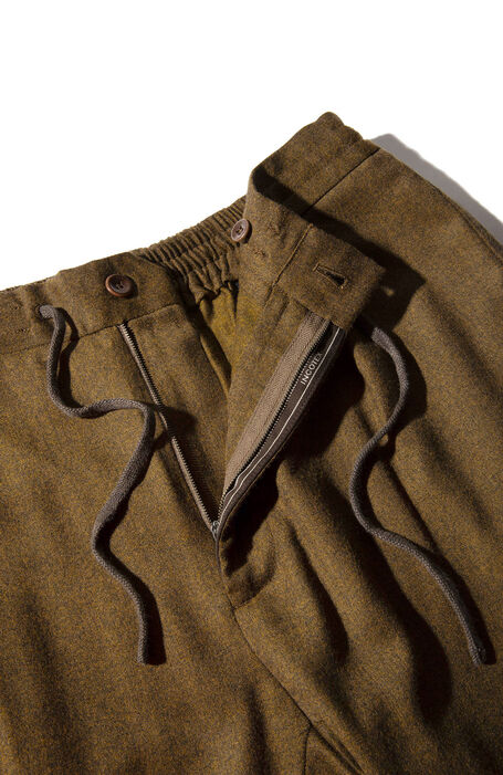 Carrot fit light brown flannel trousers with drawstring , Incotex - Venezia 1951 | Slowear