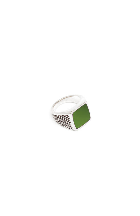 Silver ring with green lacquer , Officina Slowear   Slowear