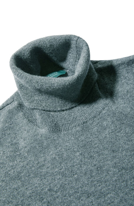 Medium grey wool and cashmere turtleneck , Zanone | Slowear