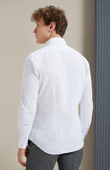 "Slim-fit ""White Jacquard"" cotton shirt with French collar , Glanshirt 