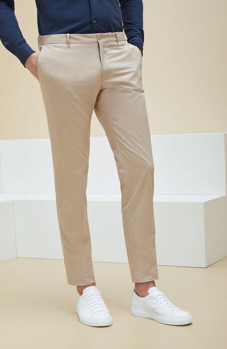 Beige slim-fit trousers in Techno Gab technical fabric , Urban Traveler | Slowear