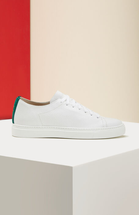 Textured calfskin trainers with green detailing , Officina Slowear | Slowear