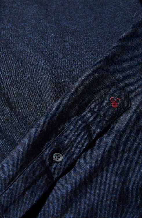 Slim fit cotton piqué jersey shirt with French collar , Glanshirt | Slowear